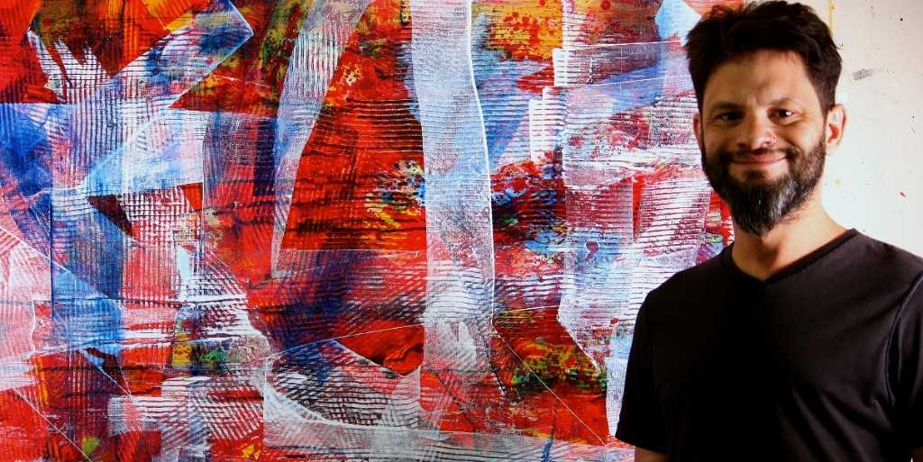 Nestor Toro - Los Angeles Abstract Artist with one of his abstract works - now sold