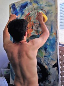Abstract artist Nestor Toro working in his studio in Los Angeles