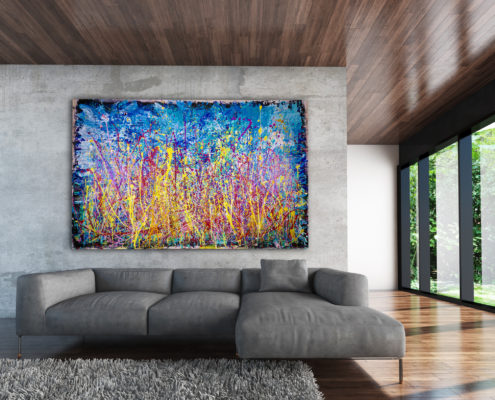 "Sold painting ""Infinite Glow"" by abstract artist Nestor Toro, recently sold to a collector in London."