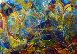 Iridescent blue tangle abstract painting sold sold by Nestor Toro