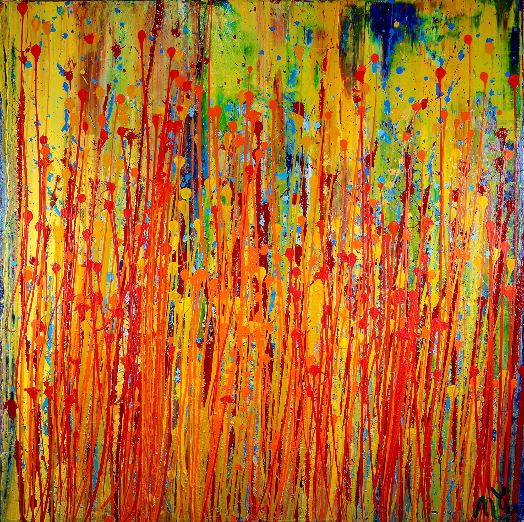 Sold floral fantasy abstract abstract artist nestor for Abstract art mural