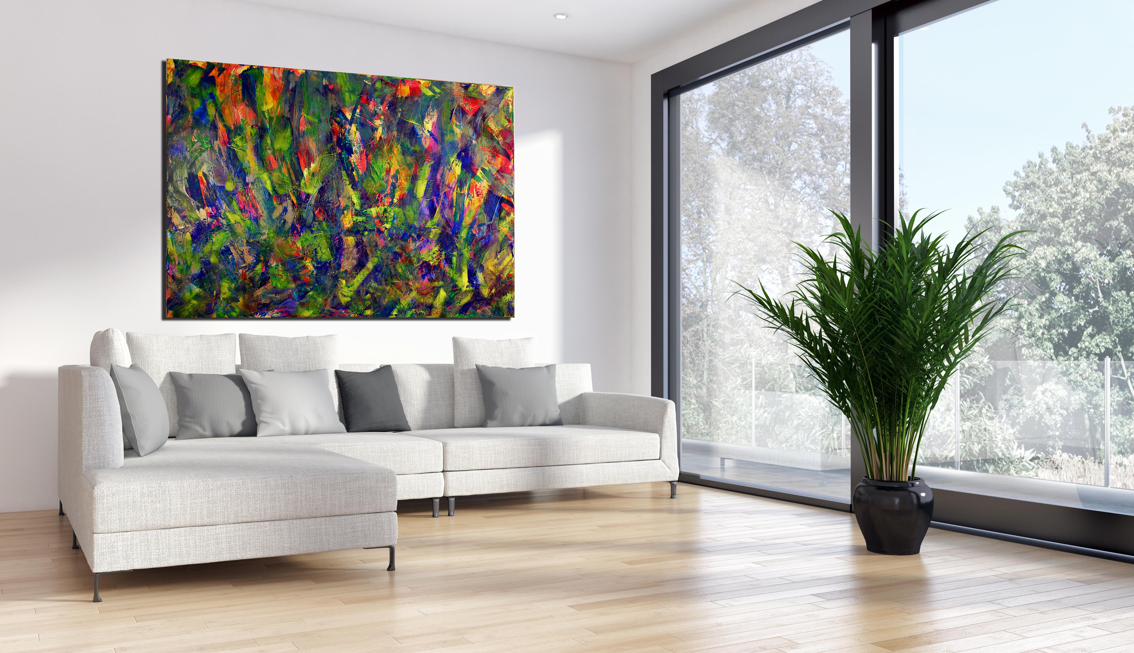 Green terrain (Green Dimensions) (2015) Acrylic painting by Nestor Toro
