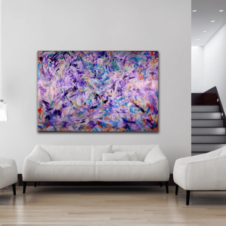 Iridescent Purple (Echoes) - HUGE STATEMENT WORK READY TO HANG! (2016) Acrylic painting by Nestor Toro