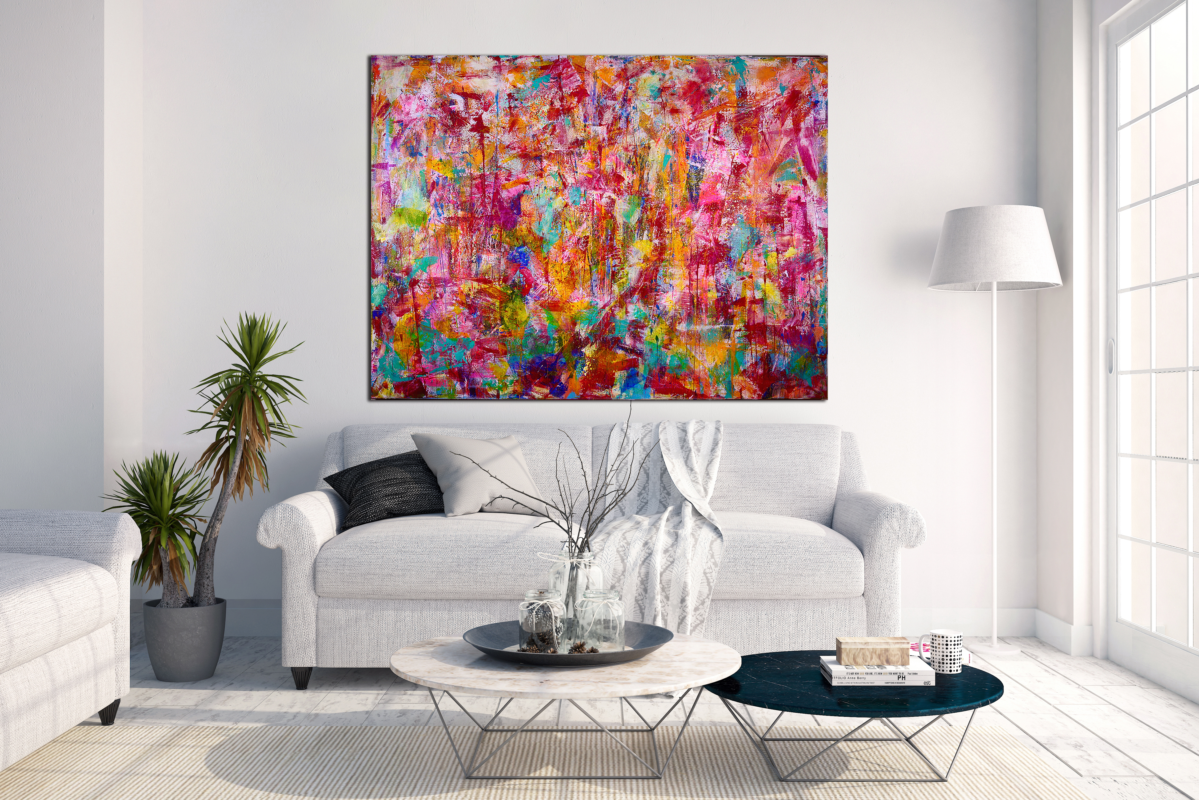 Abstract transition II (Falls) - COLORFUL STATEMENT WORK! (2015) Acrylic painting by Nestor Toro in Los Angeles