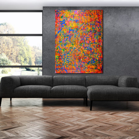 One of many shapes (Orange Pop!) Large statement piece! (2016) Acrylic painting by Nestor Toro