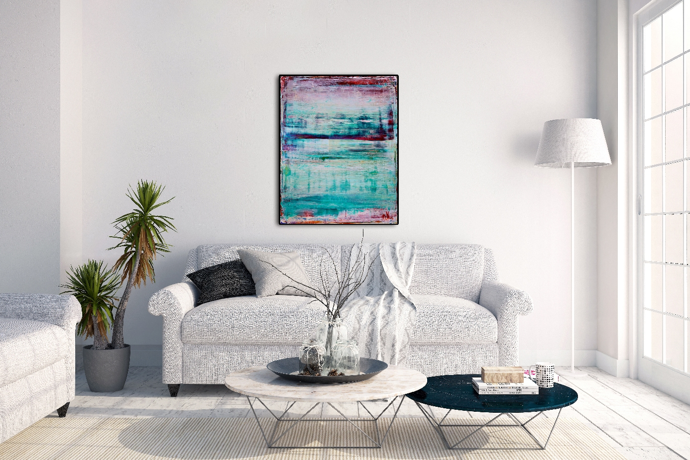 Cielo Blanco by abstract painter Nestor Toro in L.A.