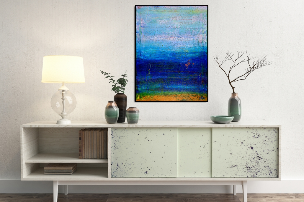 Vibrant Ombre Colorfield - Framed + Signed (2016) Acrylic painting by Nestor Toro