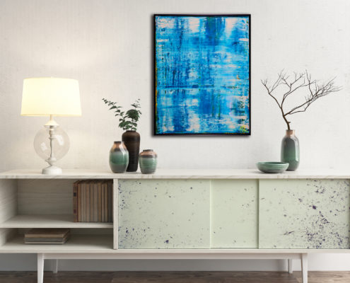 Translucent Abstract Ocean - BRUSHED METAL FRAME WITH SIGNATURE ON FRONT! (2016) Acrylic painting by Nestor Toro