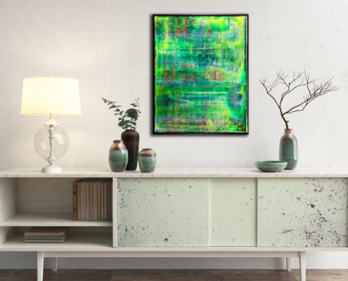 Translucent Abstract Forrest - FRAMED + SIGNED (2016) Mixed Media painting by Nestor Toro in Los Angeles