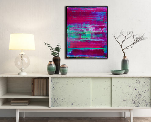 Purple Escapade (Translucent Series) - FRAMED + SIGNED (2016) Acrylic painting by Nestor Toro in Los Angeles