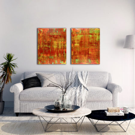 Infinite Sunset-Diptych (2016) Acrylic painting by Nestor Toro in Los Angeles