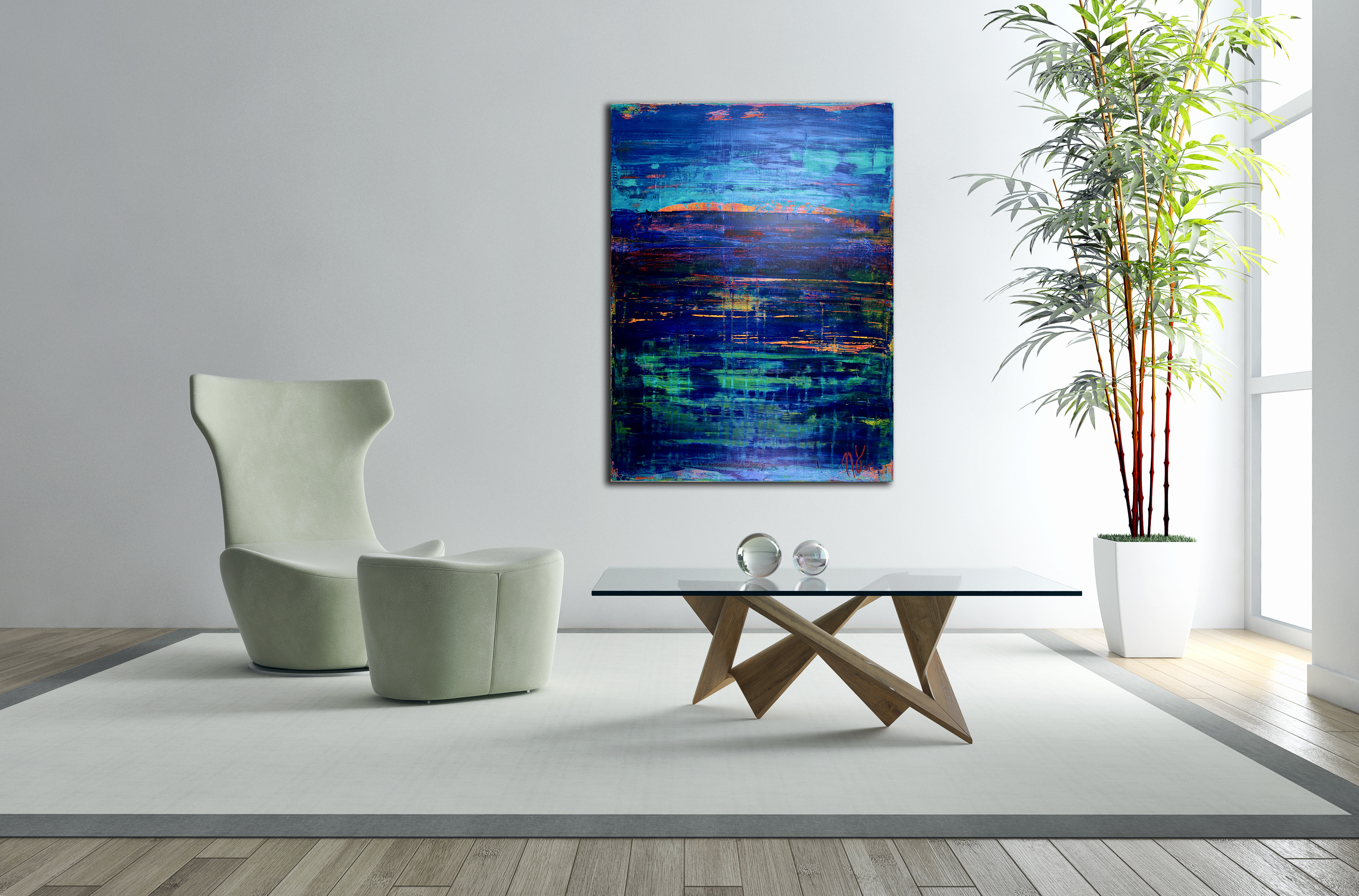 Ocean Particles-Oceanic Colorfield Acrylic painting by Nestor Toro