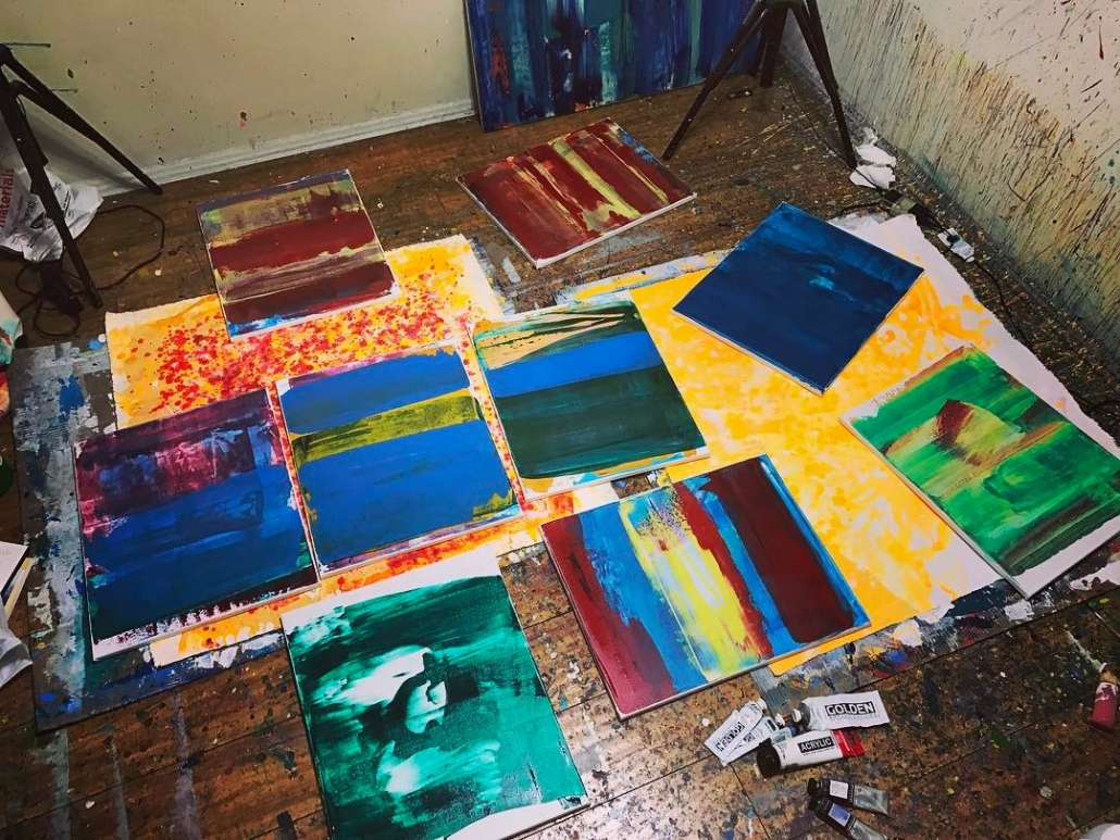 Painter abstract artist Nestor Toro give you a peek of new work in progress being created in his Los Angeles West Hollywood studio space.