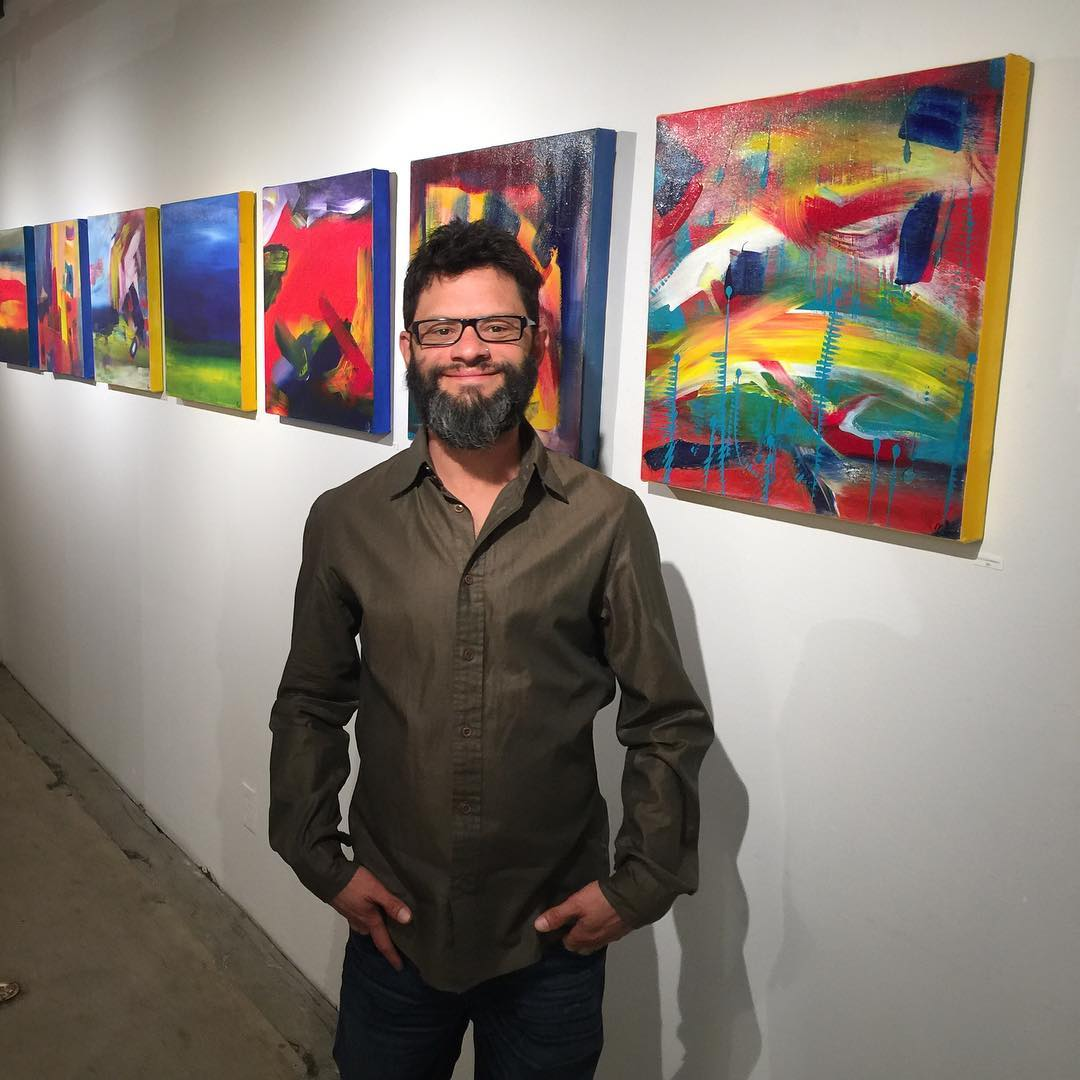 Los Angeles abstract artist ; Nestor Toro with his series called 9.5 hours seen here on display at the FOLD gallery in LA