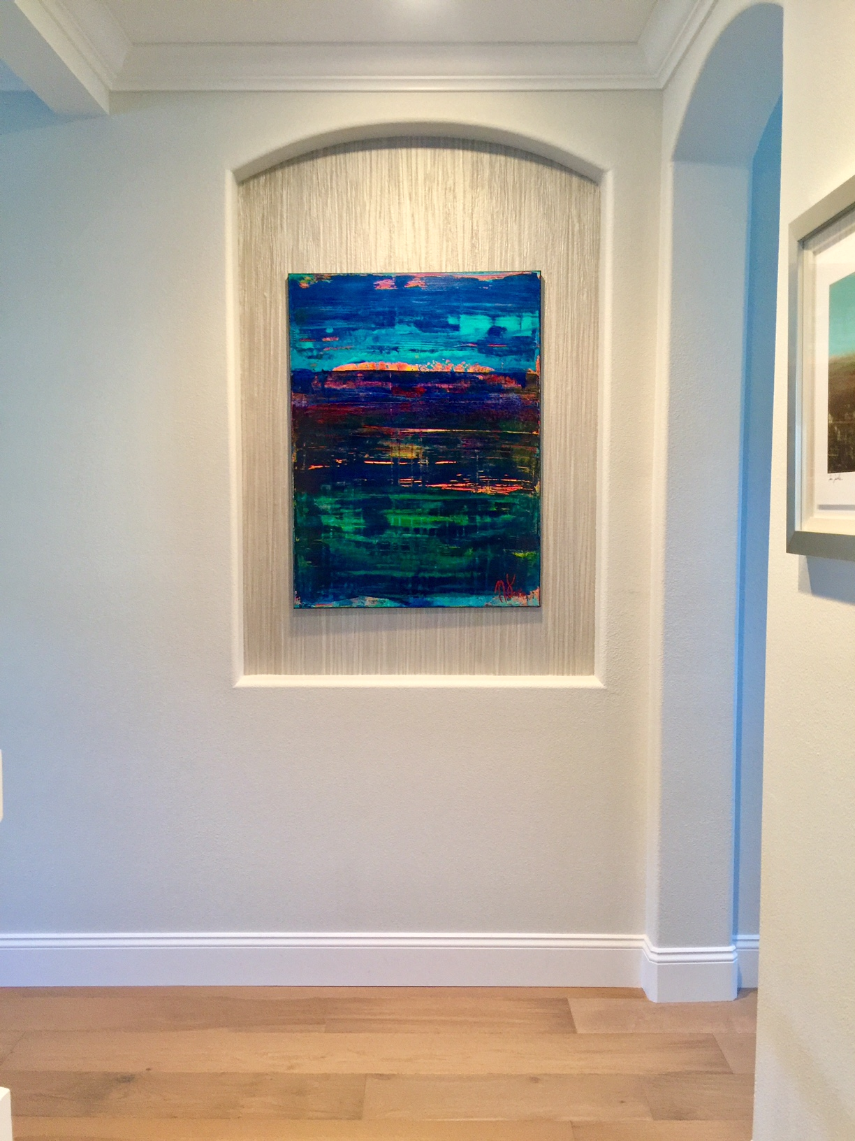 Installed in collector's home - Ocean Particles-Oceanic Colorfield Acrylic painting by Nestor Toro - Sold