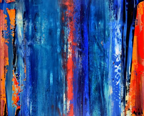 SOLD - Abstract Painting - Night of Thunder I (2016) Abstract art - Acrylic painting by Nestor Toro in Los Angeles