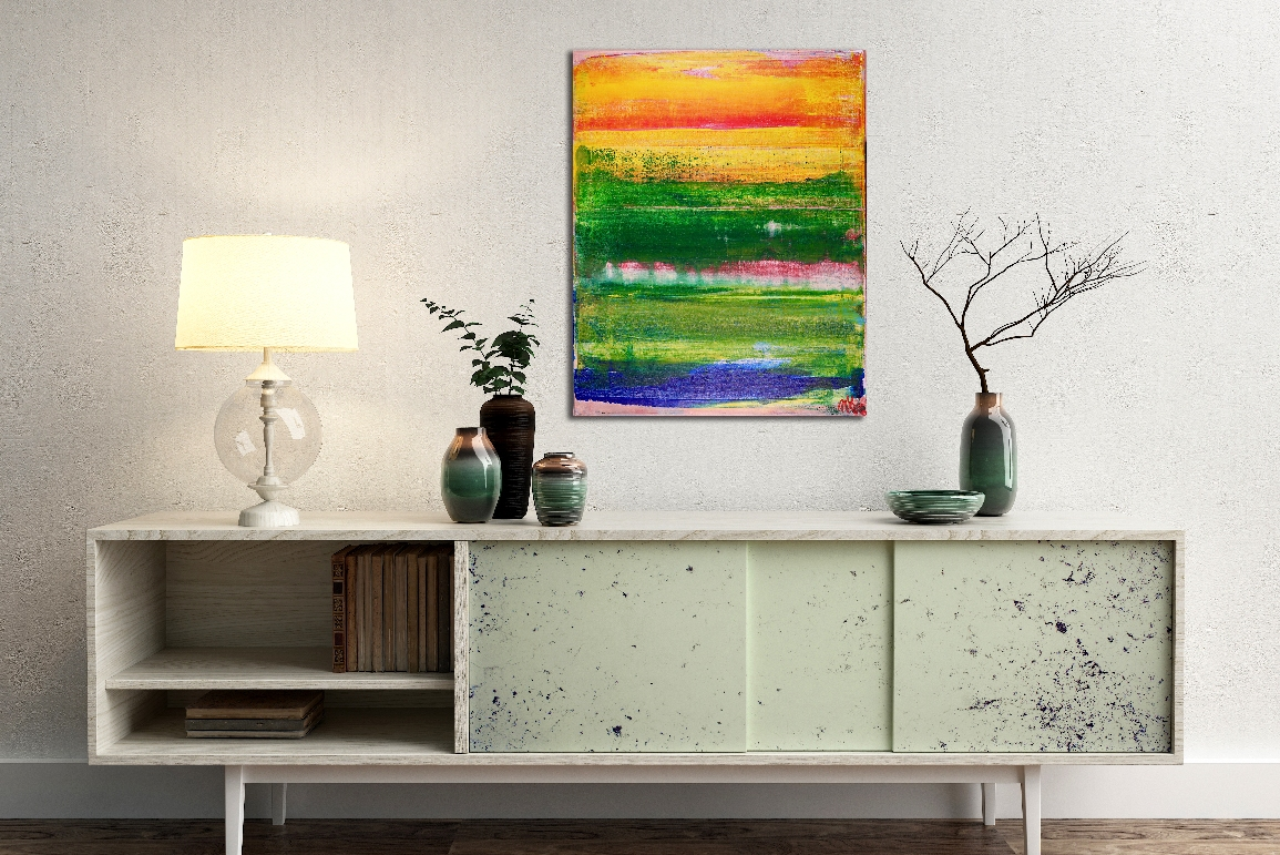 SOLD ABSTRACT Paiinting - Sunny Retreat by Los Angeles artist Nestor Toro