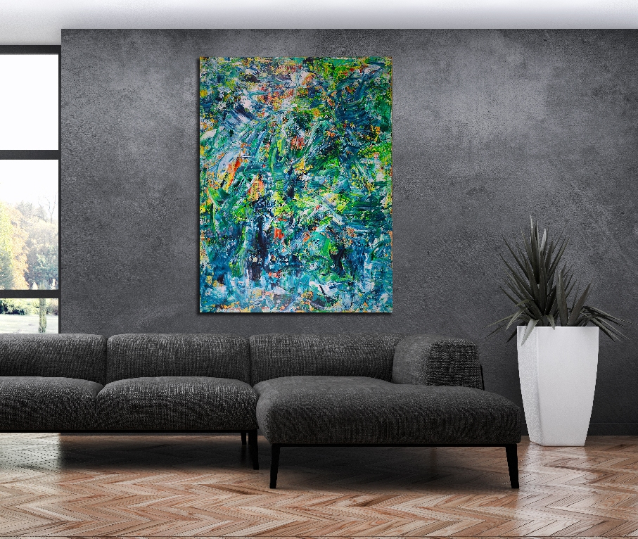 Shades of Green-Another Rainforest Dream 36x48 abstract acrylic by Nestor Toro in Los Angeles