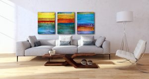 SOLD - Morning Stars - Three Phases, One Day - Multi-canvas work by Nestor Toro