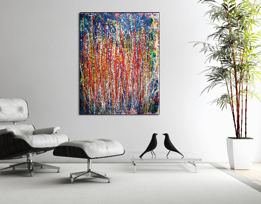 Artist's description: Dark turquoise background and deep color drips for this very contemplative painting. Colors include red, yellow purple, orange, green, blues. Very expressive abstract painting. Done on a high quality loose canvas, shipped rolled in a tube. Simply take it to your local framer to have it mounted. Since it is loose canvas there are an infinite variety of framing methods. Simply pick the one that is best suited from the intended installation area. Plenty of edge left for framing! ORIGINAL FINE ABSTRACTS - ONE OF A KIND! I only make original works. Each is a one of a kind so you will have the only one! My artwork is my passion and you can SEE that passion on the canvas - You can experience it each day you own it! SHIPPING OPTIONS: Shipping is normally within 72 hours of your order. * I Ship Everywhere - If your country is not listed simply contact me! * ALL artwork can be shipped rolled in a tube if you prefer! CUSTOMS FEES AND DUTIES: I ship from Los Angeles. Collectors outside the USA are responsible for paying import fees as these vary from country to country. MATERIALS: I use only the best quality Professional Grade acrylics by Sennelier and Golden for rich colors! All works are protected with a UV layer for archival color stability which protects from sunlight and also provides a beautiful vibrant finish. IN CONTEXT IMAGES: Artwork in room settings is intended to illustrate how they can look in various setting. These are not to exact scale and are for illustrations purposes. Simply refer to the listed dimensions to assure the work will fit your specific requirements. CERTIFICATE OF AUTHENTICITY: Accompanied by a signed Certificate of Authenticity to protect your investment as a genuine original work. My work can be found in over 20 countries on 5 continents. I look forward to working with you - Thank you Materials used: Acrylic, gesso on canvas. Buy these two artworks together and save 15% + Buy both artworks together: $1,097.95 Saving of $193.