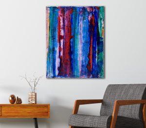 Blue Fusion 2 (2018) Acrylic painting by Nestor Toro