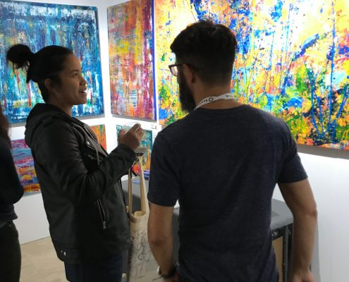 Nestor Toro showing his artwork in Los Angeles March 2018