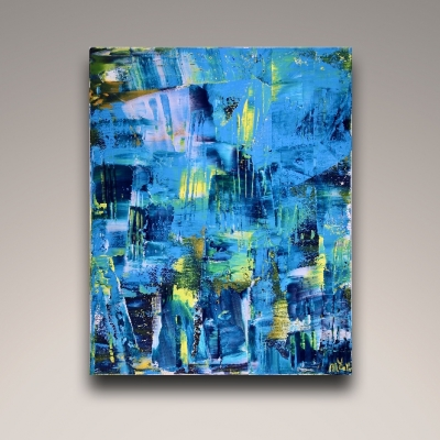 Vanishing Blue panorama (2018) Acrylic painting by Nestor Toro