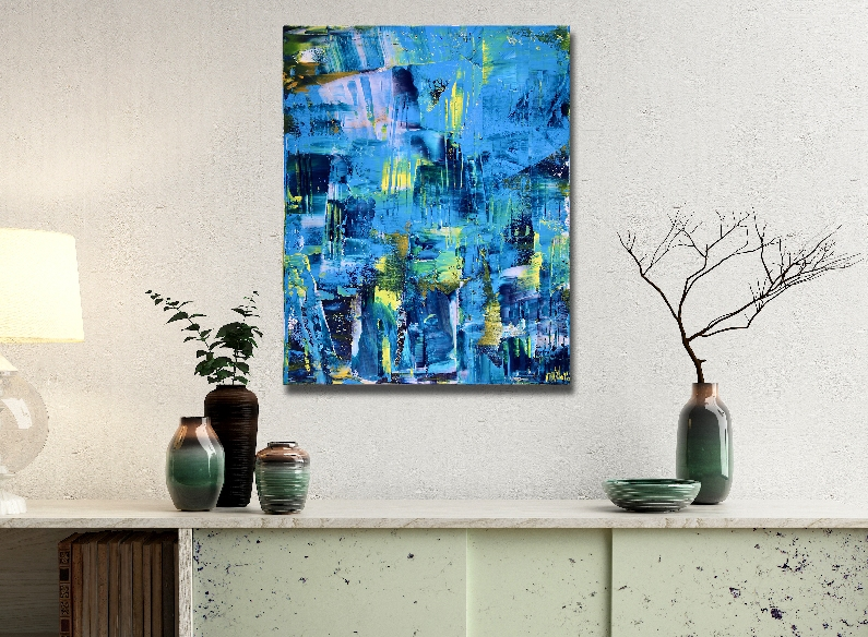 Vanishing Blue panorama (2018) Acrylic painting by Nestor Toro in Los Angeles