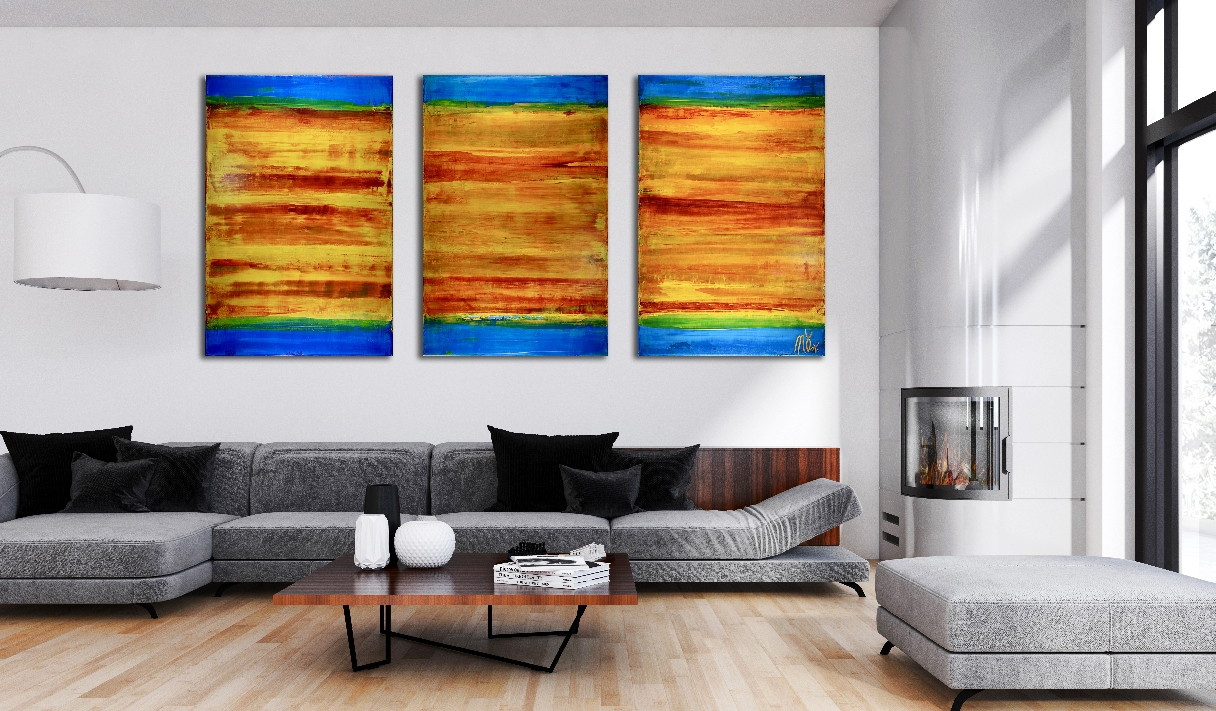Fragmented Vibrant Sunset (2018) Triptych - Acrylic painting by Nestor Toro