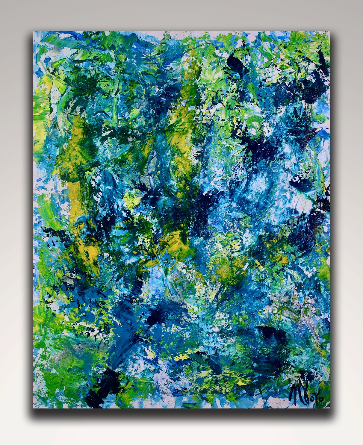 gestural blue flow 2 (2018) abstract art Acrylic painting by Nestor Toro