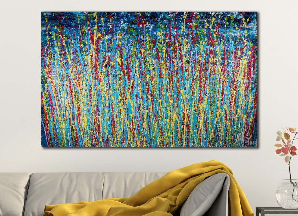 Night color explosion (2018) abstract art Acrylic painting by Nestor Toro