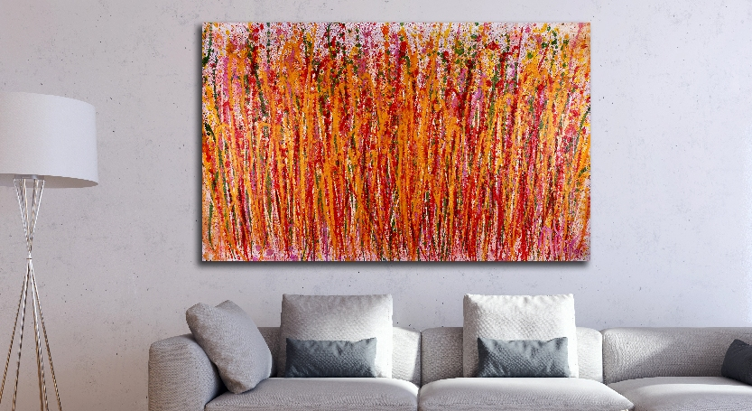 Drizzle Explosion (2018) abstract art Acrylic painting by Nestor Toro