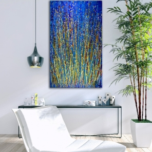 Color Contemplation over blue (2018) abstract art acrylic painting by Nestor Toro