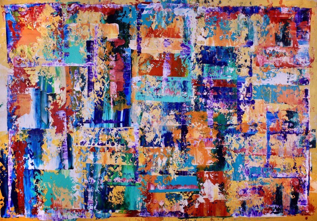 SOLD - Organic Color Fusion (2018) abstract art painting by Nestor Toro