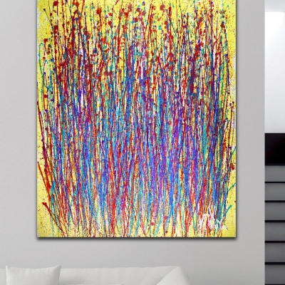 Dawn Drizzles (2018) abstract art Acrylic painting by Nestor Toro in Los Angeles