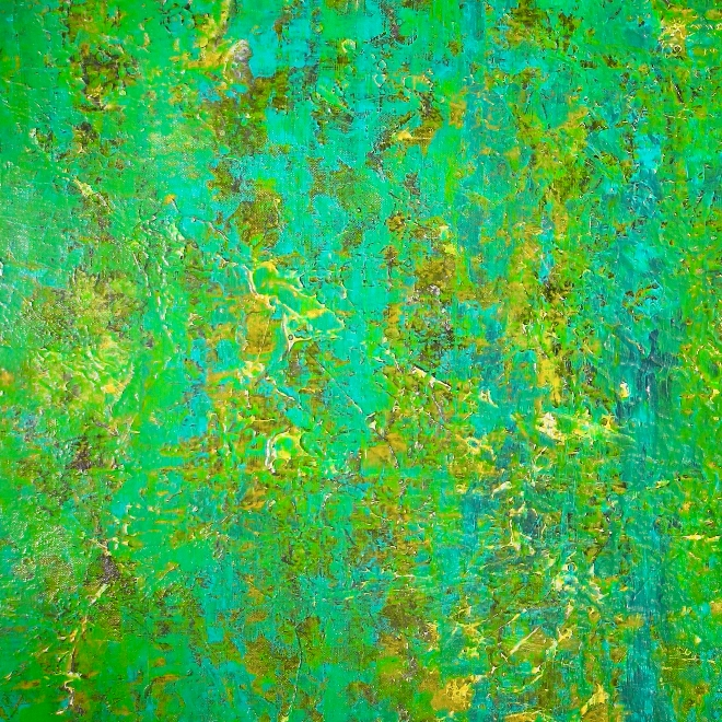 Green dreamscape with gold (2018) abstract art Acrylic painting by Nestor Toro