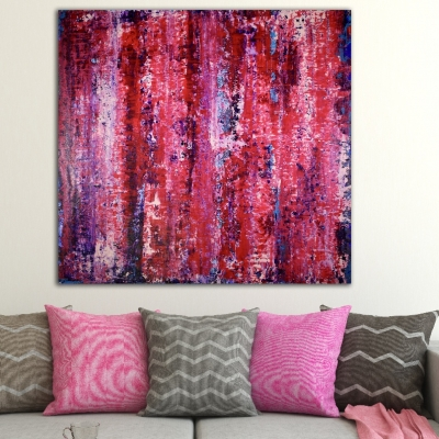 Purple and distant blue (2018) abstract art Acrylic painting by Nestor Toro