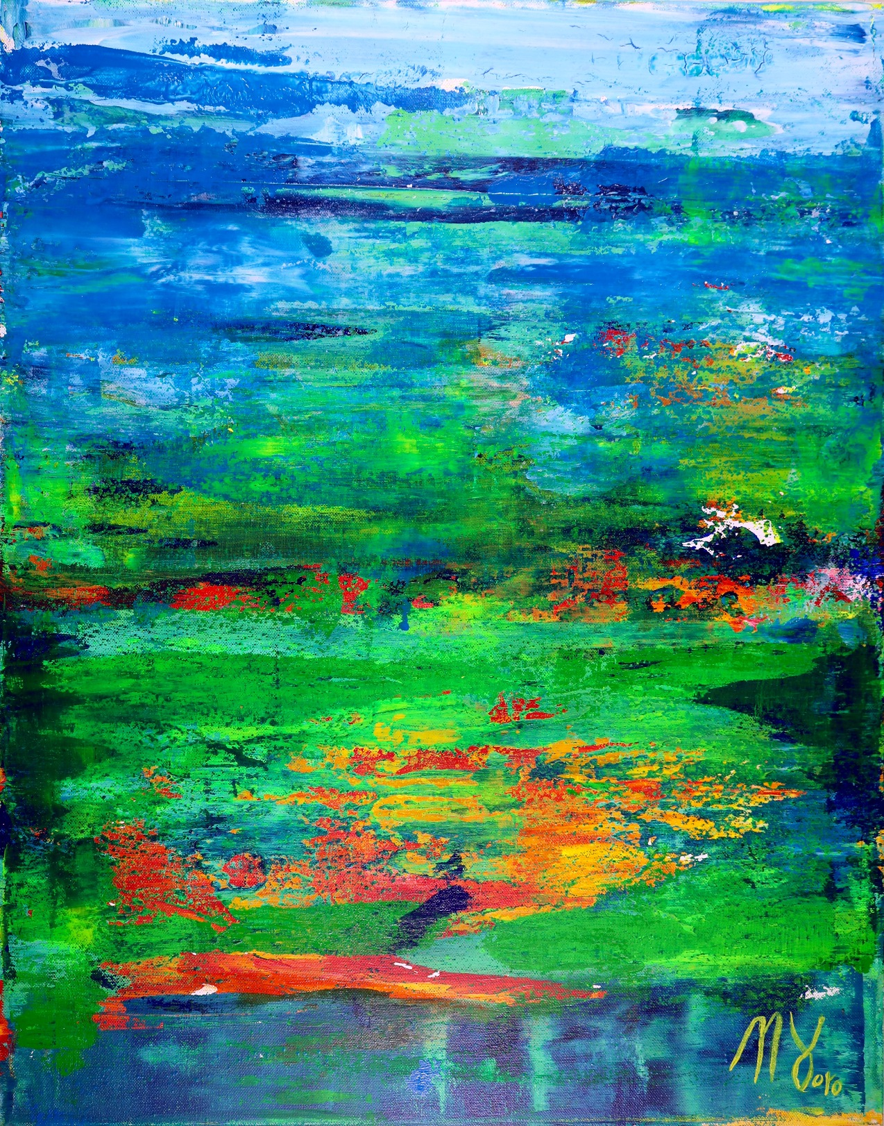 Tropics Field (2018) abstract art Acrylic painting by Nestor Toro