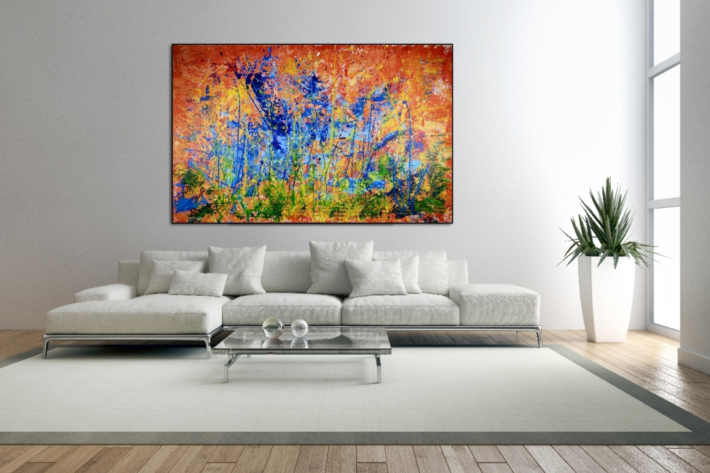 SOLD - Infinite Dimensions 3 (room view) by Nestor Toro