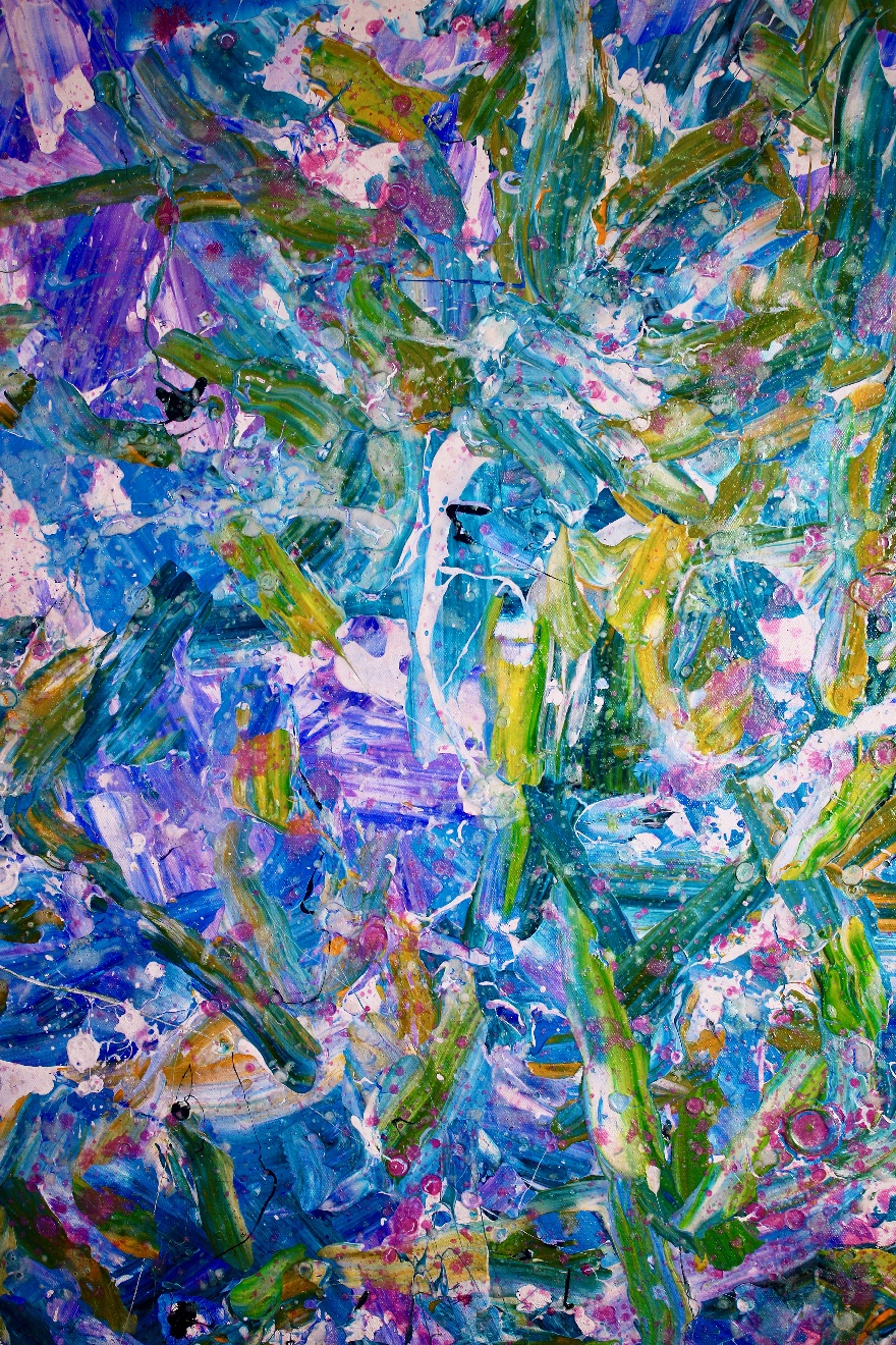 In a turquoise storm (2018) Expressionistic Acrylic painting by Nestor Toro