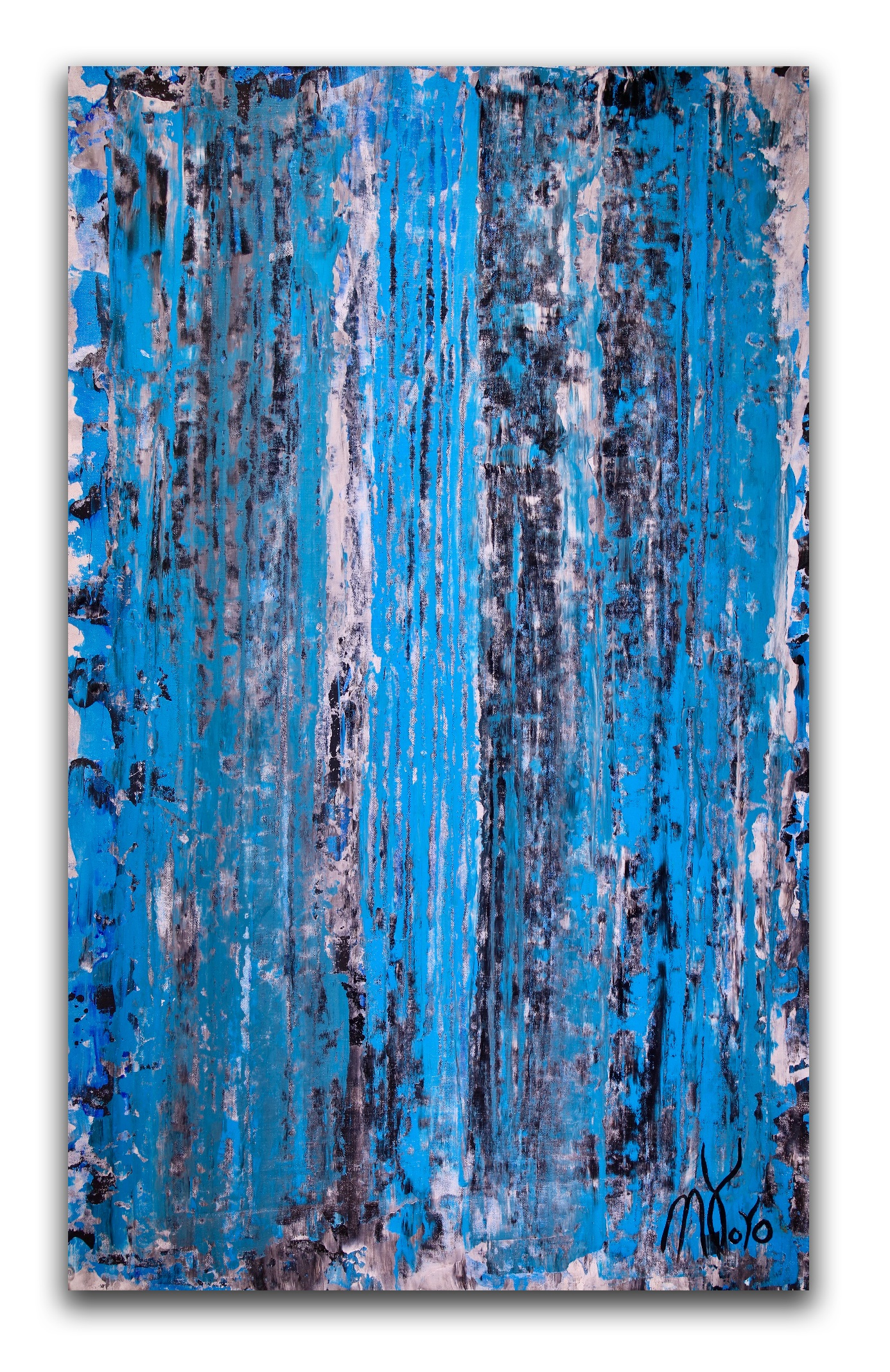 SOLD - Shower the world with blue (2018) Expressionistic Acrylic painting by Nestor Toro