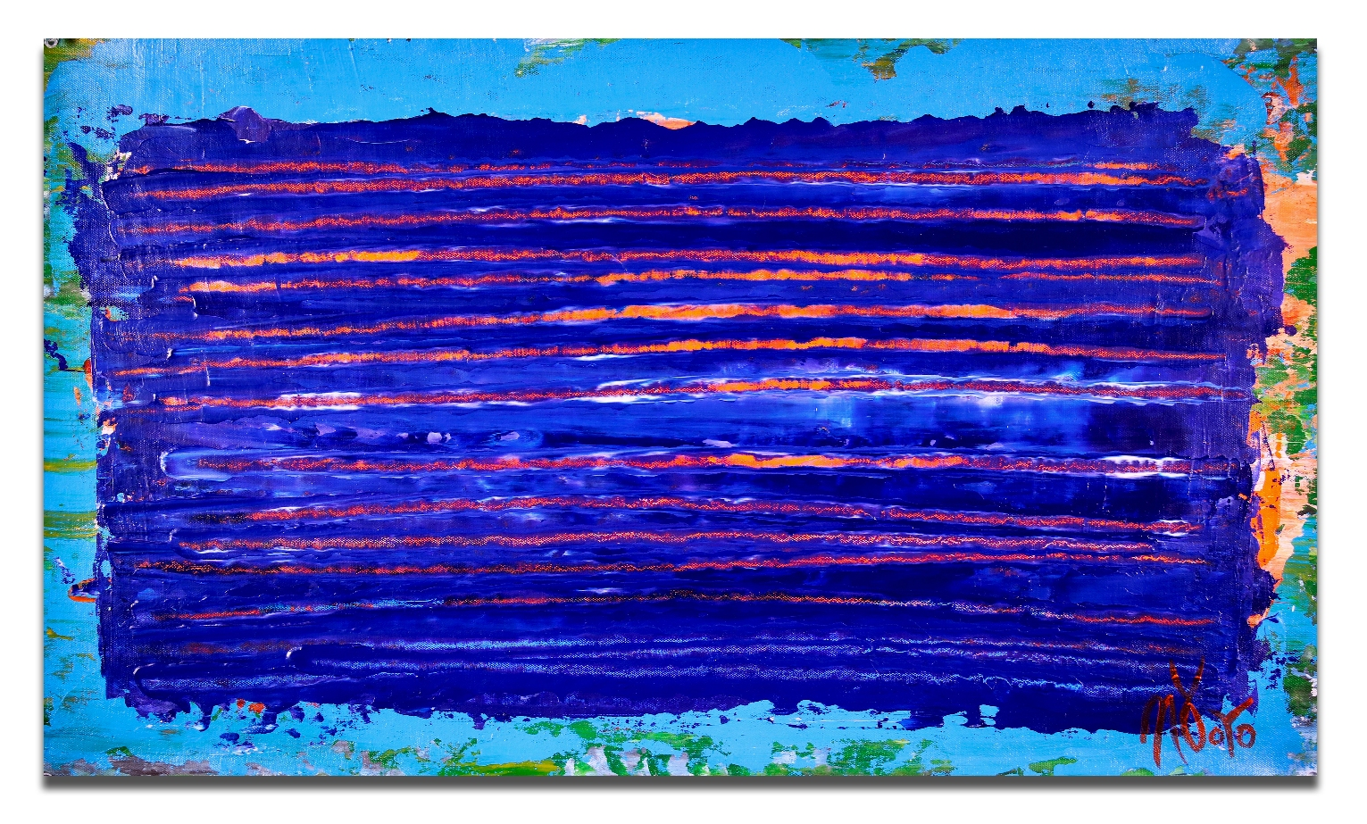 Full Image / Under blue night light (2018) Abstract Acrylic painting by Nestor Toro