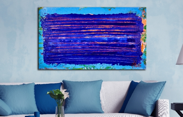 Under blue night light (2018) Abstract Acrylic painting by Nestor Toro