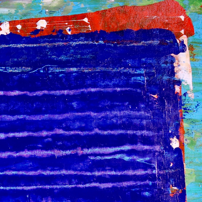 Detail - Under blue night light 2 (2018) Abstract Acrylic painting by Nestor Toro