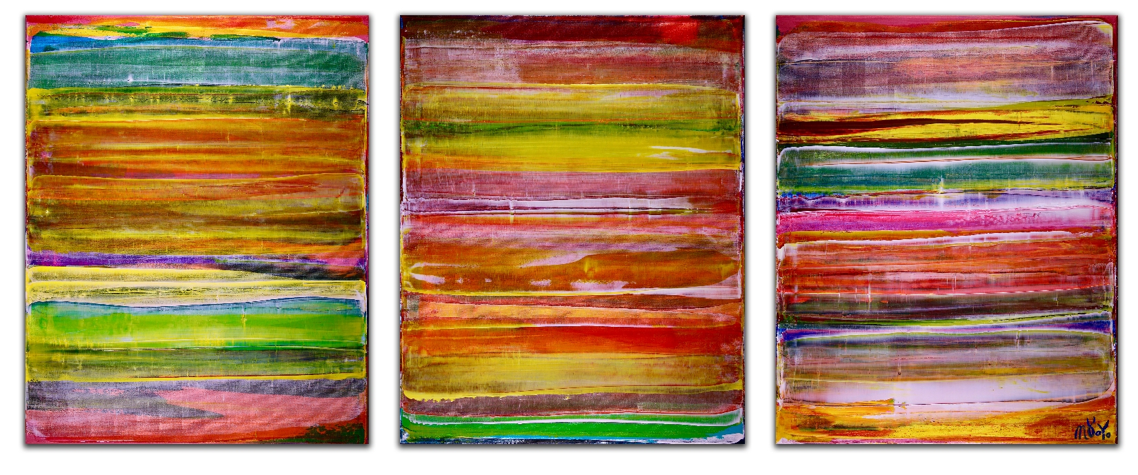 Color revival in Los Angeles 3 by Nestor Toro (2018) Abstract Triptych Acrylic painting by Nestor Toro