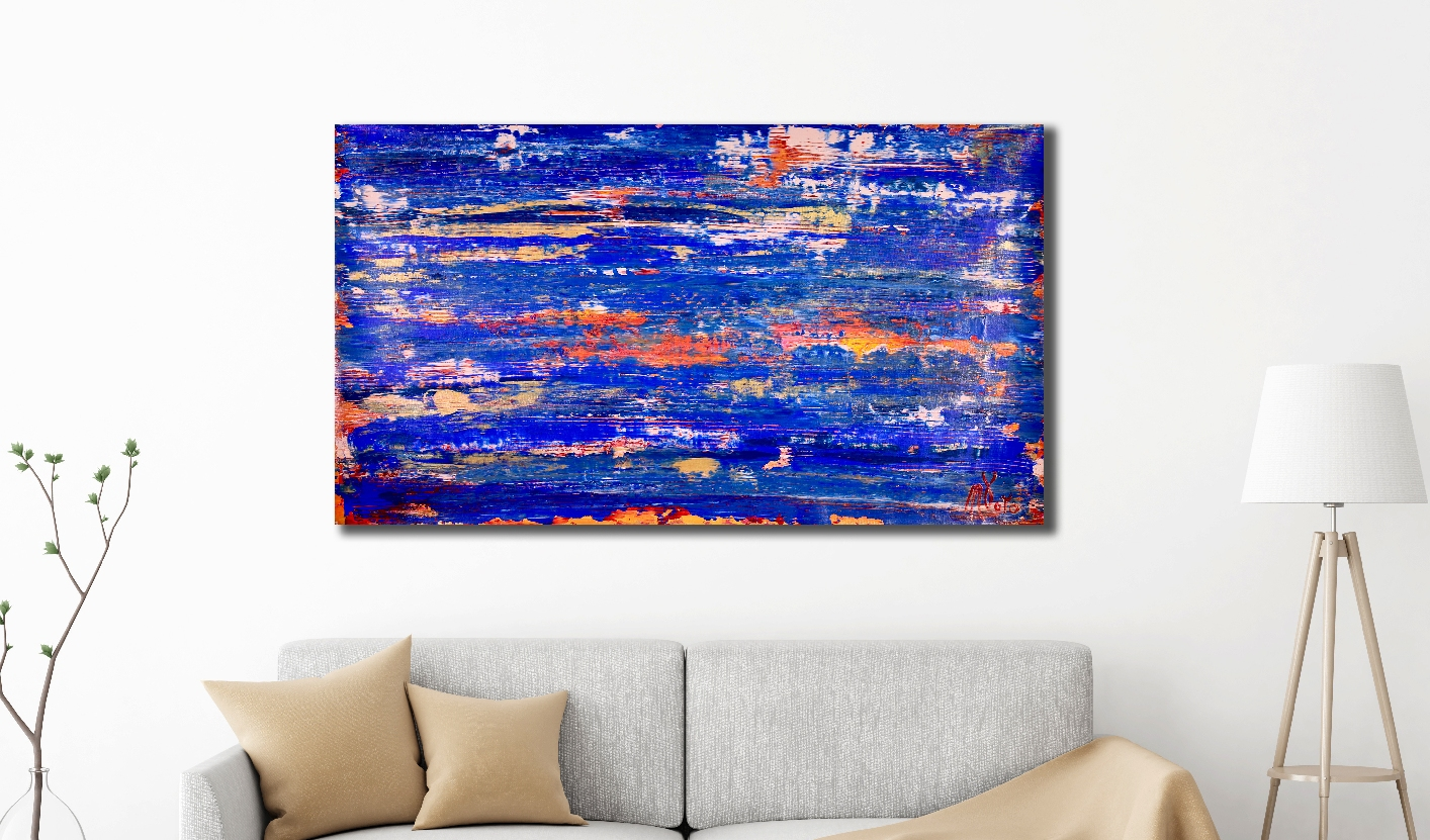 Blue Electric Storm (2018) Expressionistic Abstract Acrylic painting by Nestor Toro