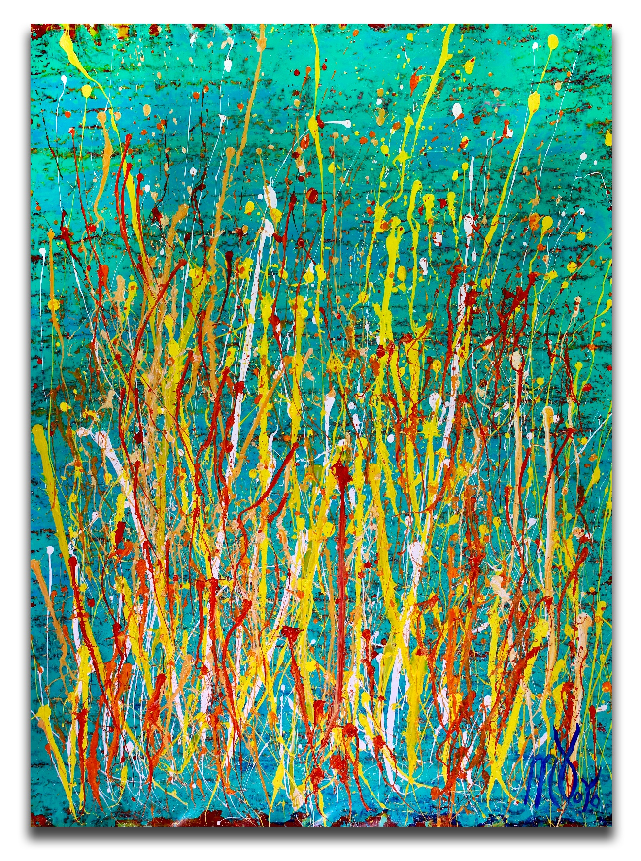 Drizzles frenzy over aqua green (2018) Abstract Acrylic painting by Nestor Toro