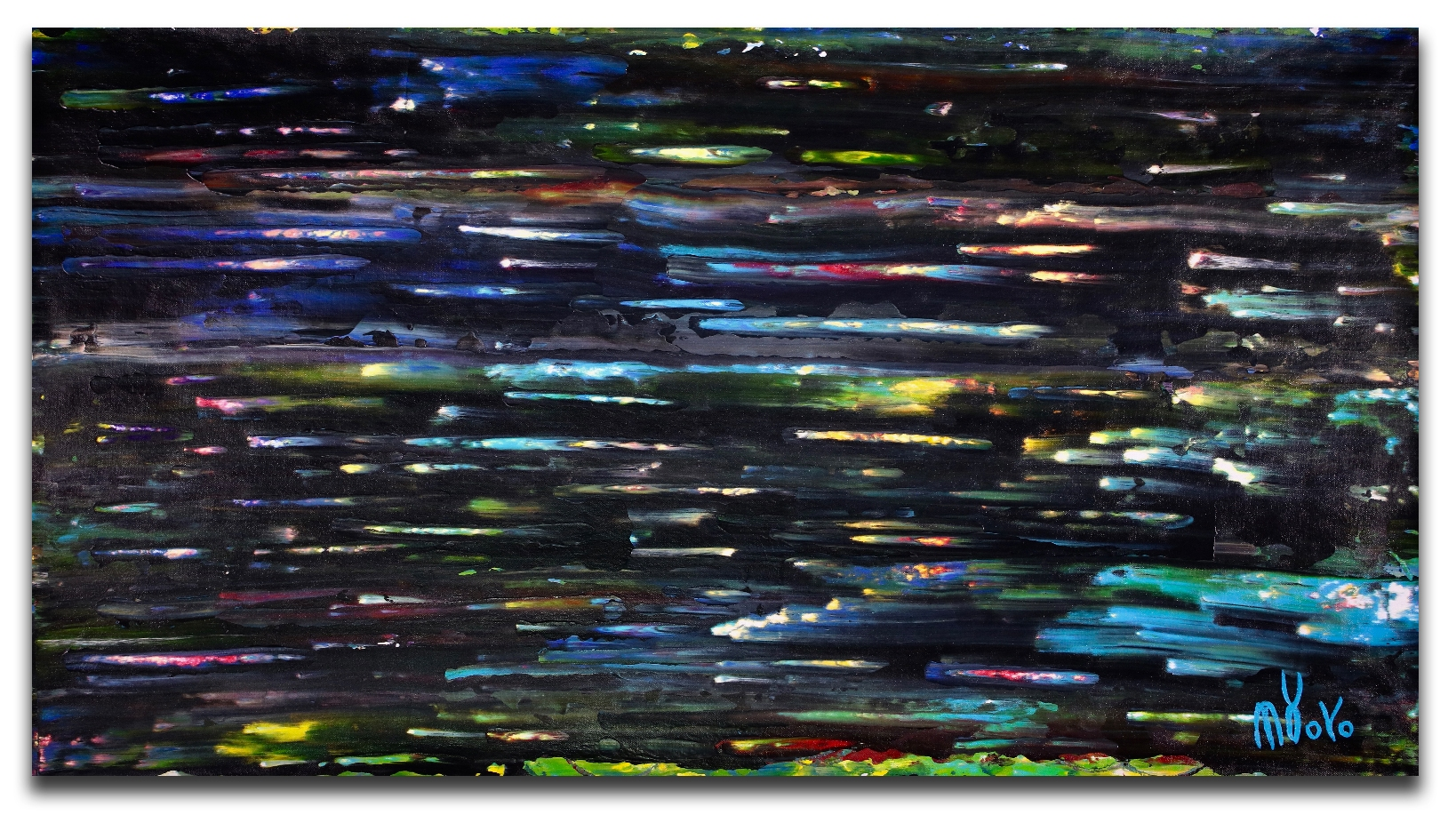 Long exposure in Santa Monica Blvd. (2018) Abstract Acrylic painting by Nestor Toro