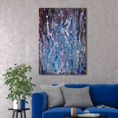 Sudden Azure Storm - BOLD (2018) Abstract Acrylic painting by Nestor Toro
