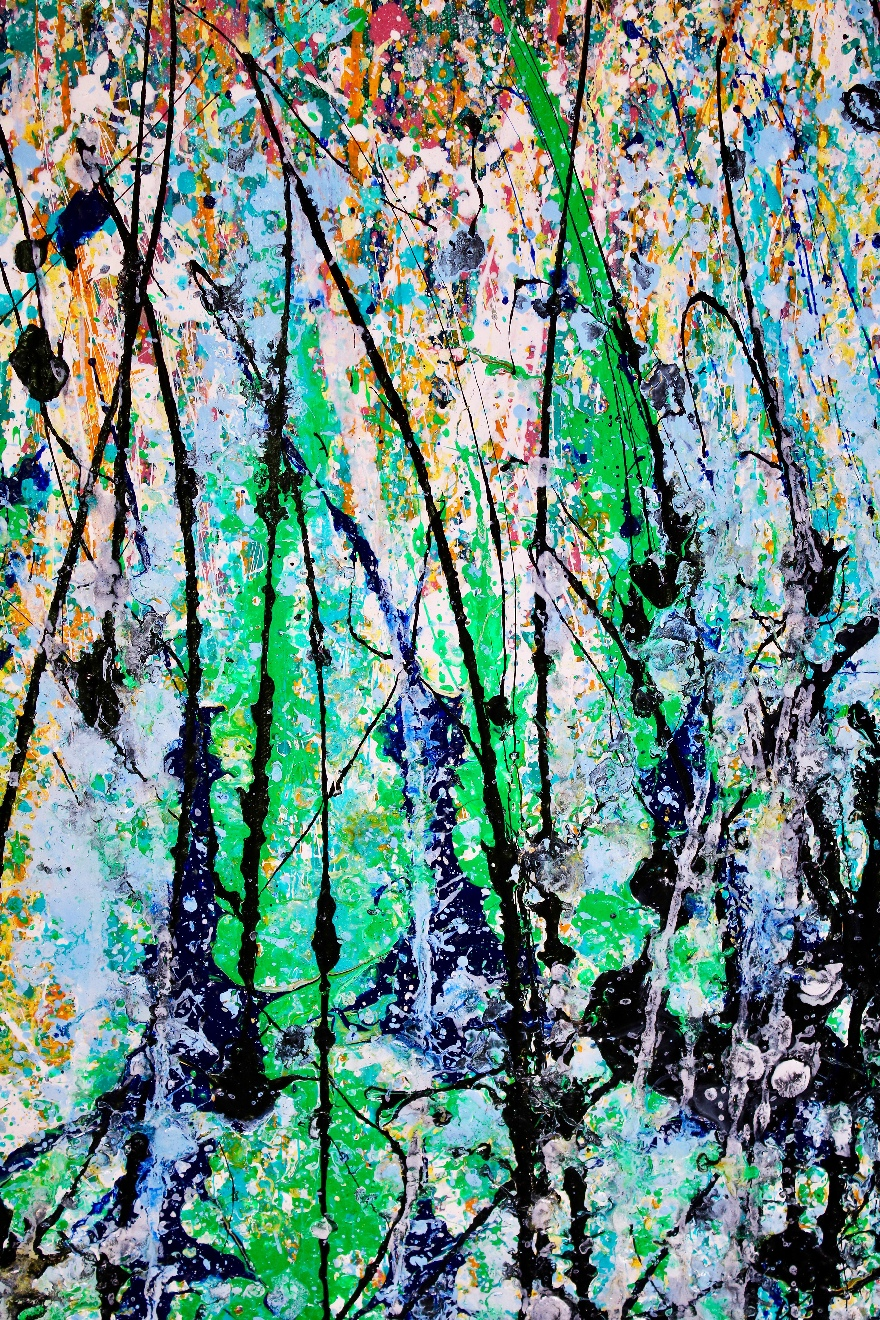 White noise frenzy (2018) Diptych Acrylic painting by Nestor Toro